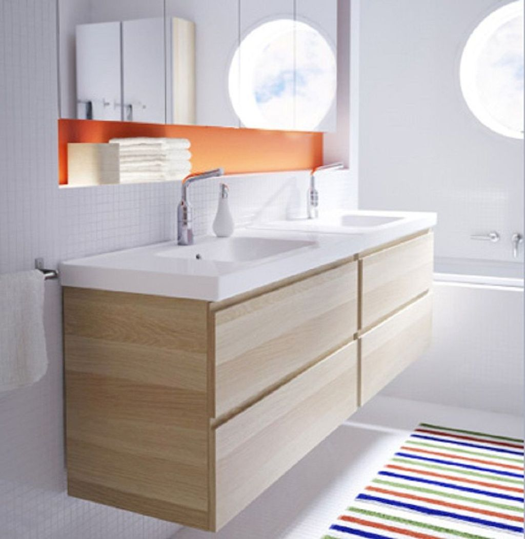 Modern bathroom designs with floating wood vanity and wallmounted bathroom cabinets Part 13