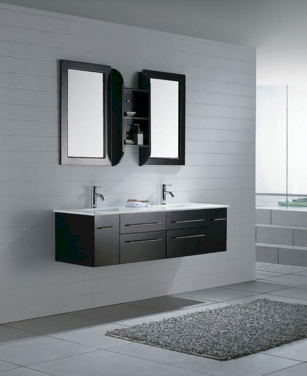 Modern bathroom designs with floating wood vanity and wallmounted bathroom cabinets Part 14