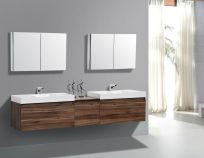 Modern bathroom designs with floating wood vanity and wallmounted bathroom cabinets Part 15