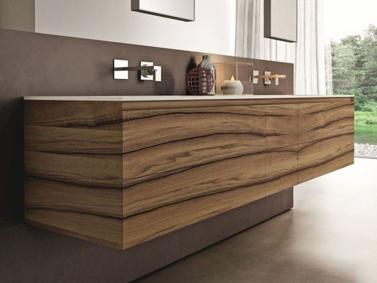 Modern bathroom designs with floating wood vanity and wallmounted bathroom cabinets Part 16