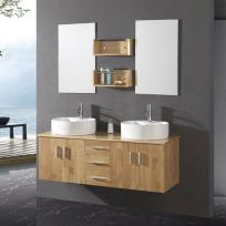 Modern bathroom designs with floating wood vanity and wallmounted bathroom cabinets Part 17