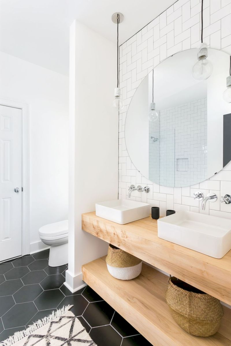 Modern bathroom designs with floating wood vanity and wallmounted bathroom cabinets Part 21