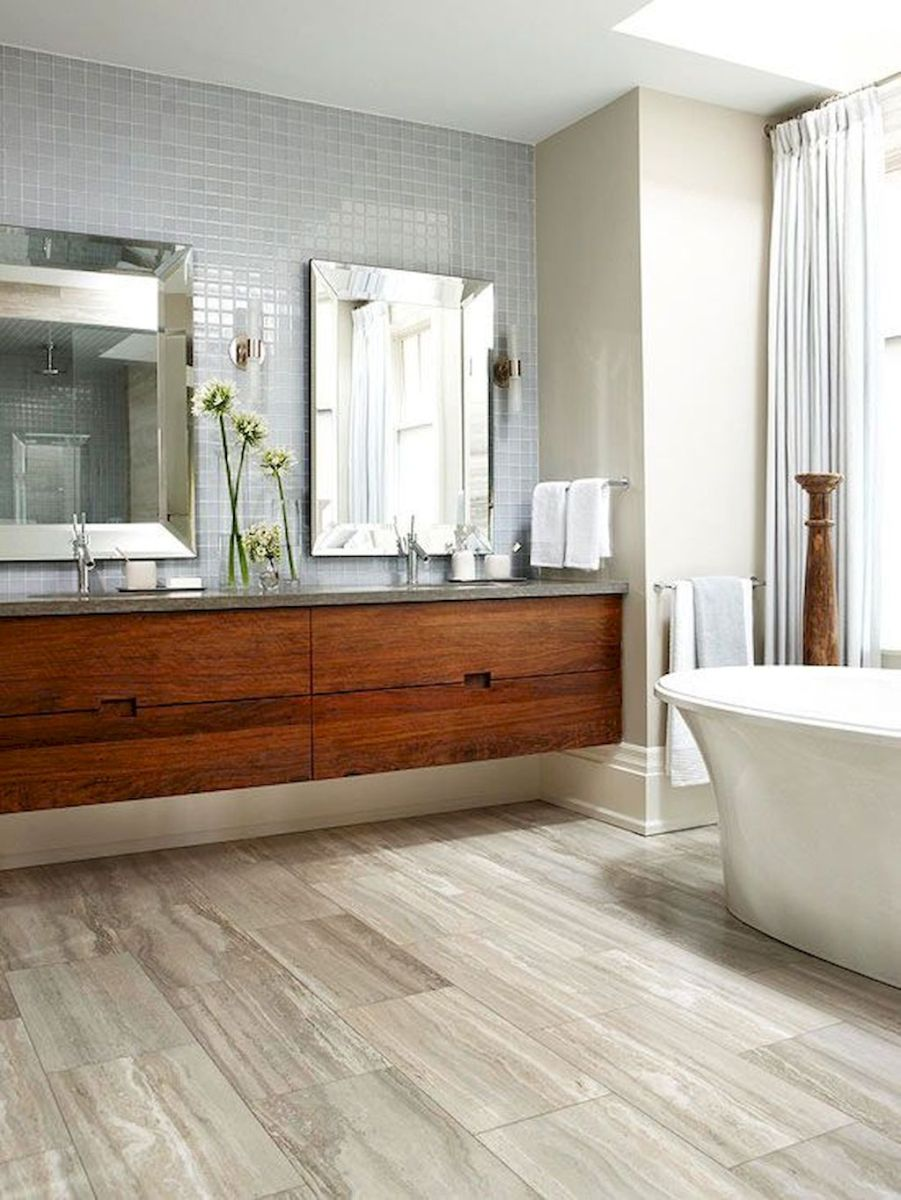 Best Modern Bathroom Ideas - Floating Wooden Vanity