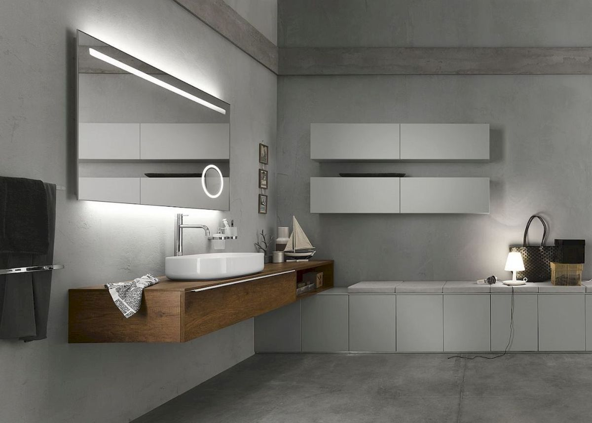 Modern bathroom designs with floating wood vanity and wallmounted bathroom cabinets Part 4