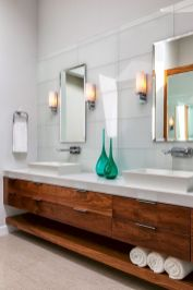 Modern bathroom designs with floating wood vanity and wallmounted bathroom cabinets Part 7