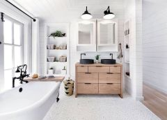 Modern white bathtub designs with unique pebble floors Part 3