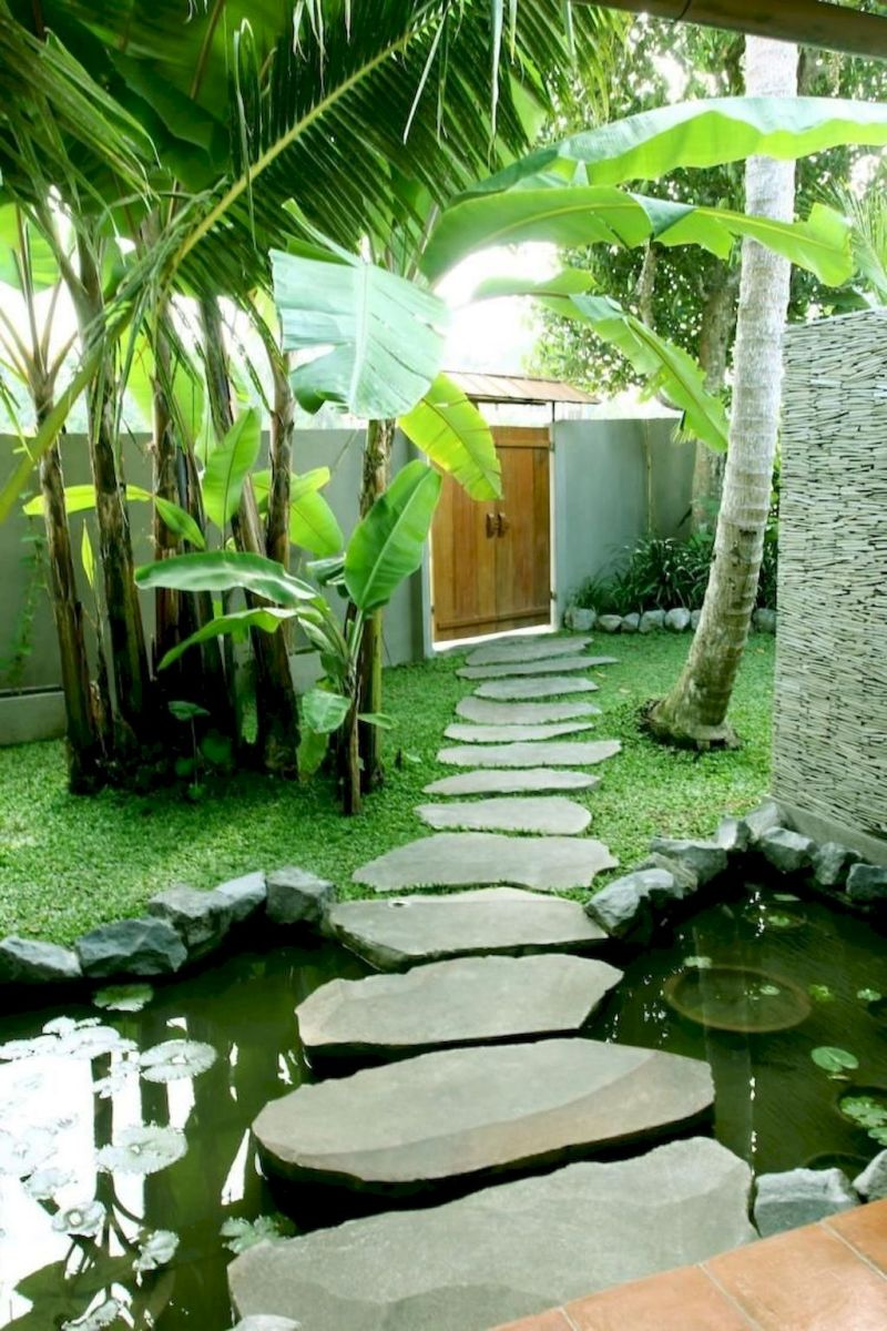 Natural garden walk ways from large stones and flagged stones Part 28