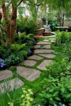 Natural garden walk ways from large stones and flagged stones Part 29