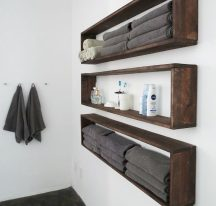 Open shelving and builtin cabinets for lots of extra bathroom storage Part 17