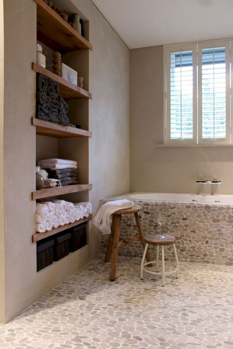 Open shelving and builtin cabinets for lots of extra bathroom storage Part 20