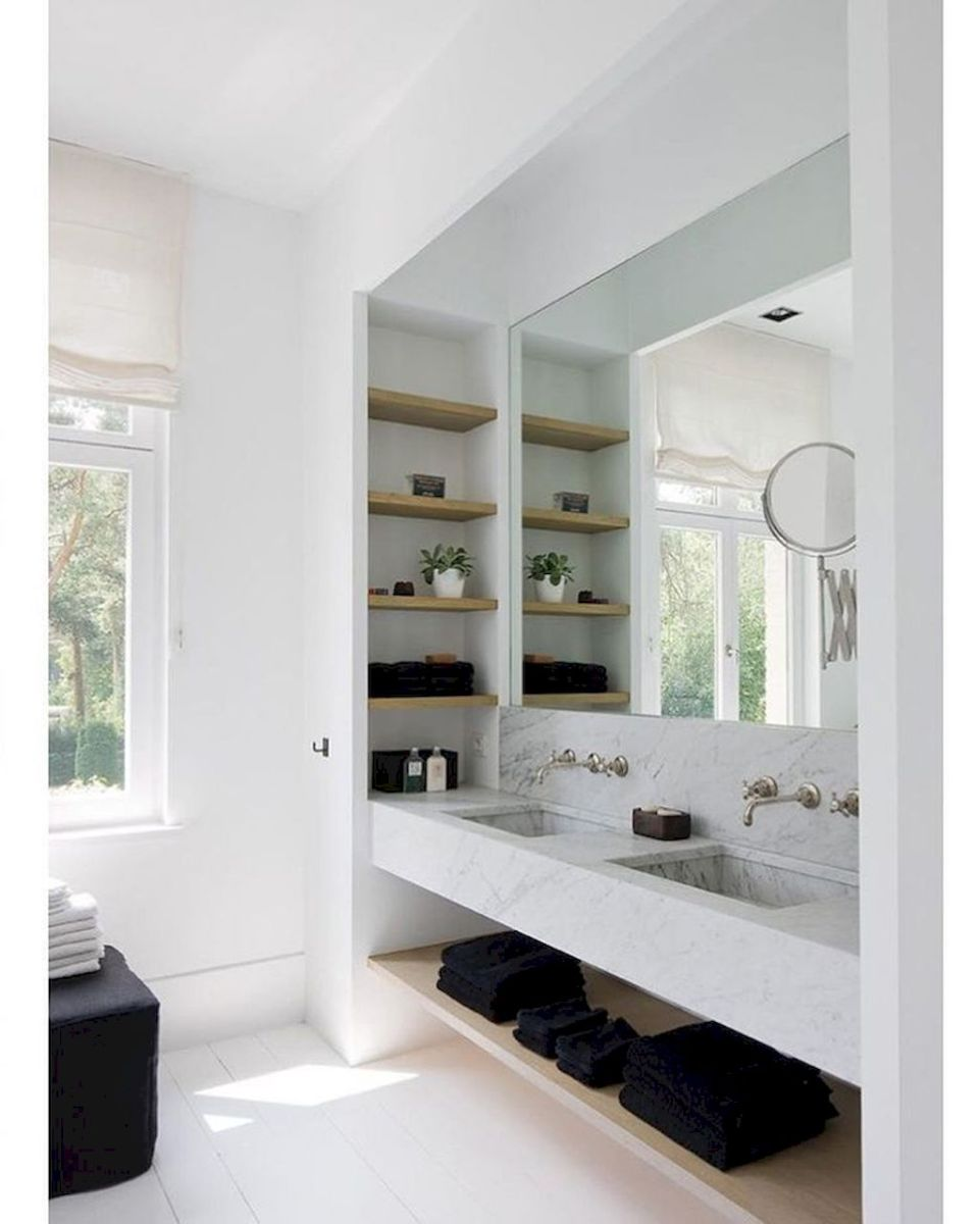Open shelving and builtin cabinets for lots of extra bathroom storage Part 23