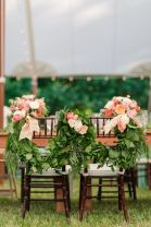 Refreshing spring wedding garland with green and ivory color theme decoration over the walls wedding arch and tables Part 1