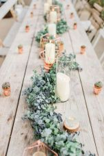 Refreshing spring wedding garland with green and ivory color theme decoration over the walls wedding arch and tables Part 14