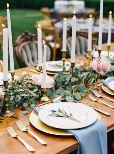 Refreshing spring wedding garland with green and ivory color theme decoration over the walls wedding arch and tables Part 6