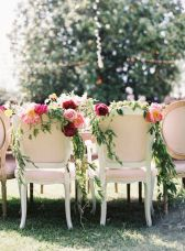 Refreshing spring wedding garland with green pink peach and ivory color themes over the walls wedding arch and tables Part 27