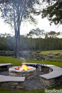 Round firepit design for outdoor living and gathering space ideas Part 10