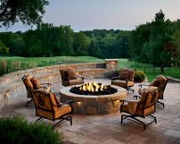 Round firepit design for outdoor living and gathering space ideas Part 12