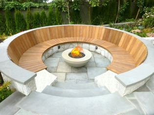 Round firepit design for outdoor living and gathering space ideas Part 13