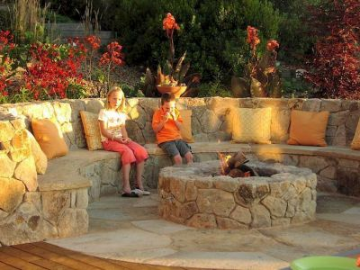 Round firepit design for outdoor living and gathering space ideas Part 5