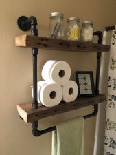 Simple bathroom shelves made from wood pallets Part 23