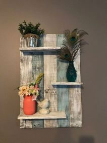 Simple bathroom shelves made from wood pallets Part 27