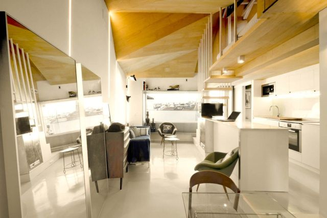 Amazing kitchen arrangement that simple and functional space from attic ronovation in Madrid MULTIPLYING ARCHITECTURES (III) Duplicated Renovation (6)
