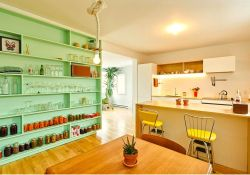 Retro style of Green wall shelf to maintain style and function in Marconi Renovation done by la Firme (2)