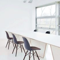Simple and modern furniture selected for Marine Serre workshops to give the office more passion and confidence