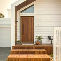 Simple concept Moonee Pond Gable House facade mixing wood and white color giving everyone warm welcome