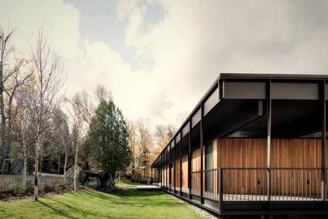 Flat roof house built in slooping land showing beautiful combination of nature and elegant architeture concept (4)