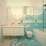 Geometric wall accents in calming tones in white and shades of blue – Doehler (2)