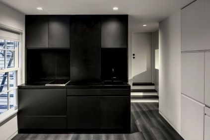Black and White home attic concept to improve visual space volume by MKCA (1)