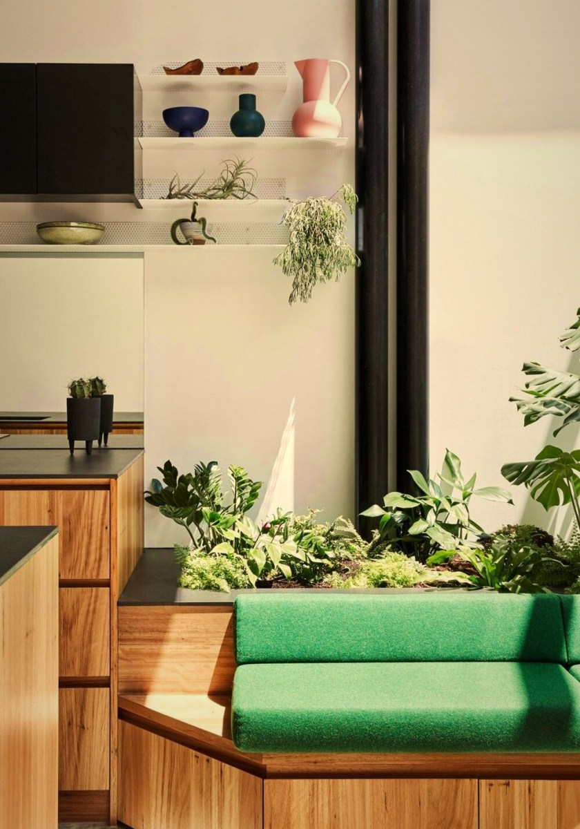 Modern wooden kitchen model with adjustable transparent roof to support indoor garden improving more natural vibe (1)