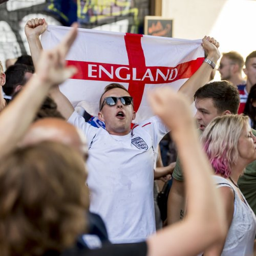 HUFFINGTON POST Pictured: England football fans watch the World Cup 2018 quarter final game between England and Sweden at The Archways at The Custard Factory Digbeth, Birmingham.  Fans celebrate after the final whistle is blown and England are through to the semi final  Picture by Jonathan Hipkiss / Exposure Photography