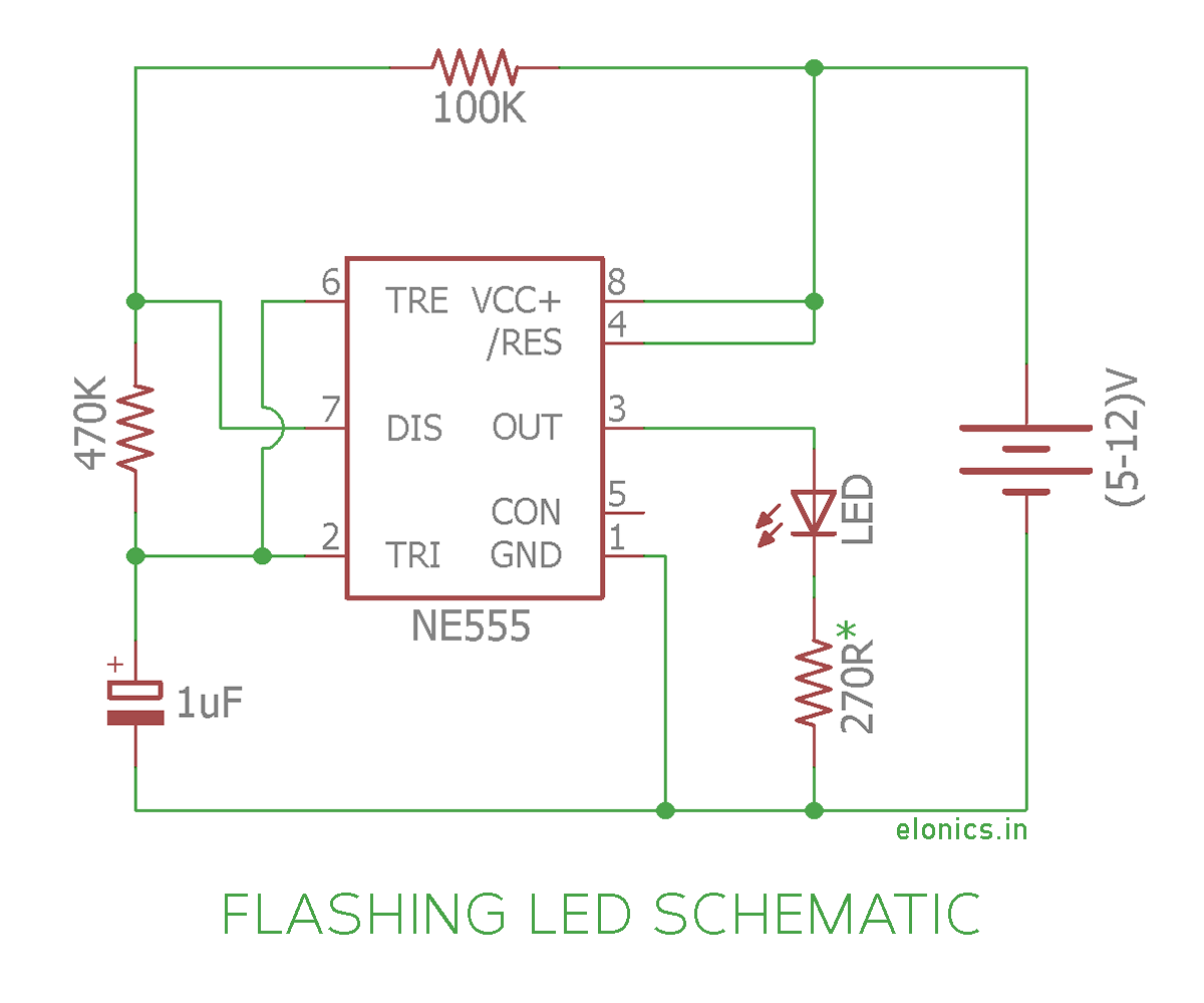 Ne555 Flashing Leds Schematic Wire Data Schema Electronix The Alternating Led Flasher Circuit With A 555 Ic Blinking Light Using Centralroots Com Rh Chip Board Dc