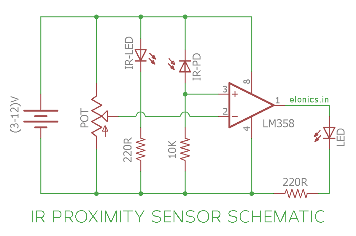 IR (InfraRed) Proximity Sensor / Obstacle Detector Circuit