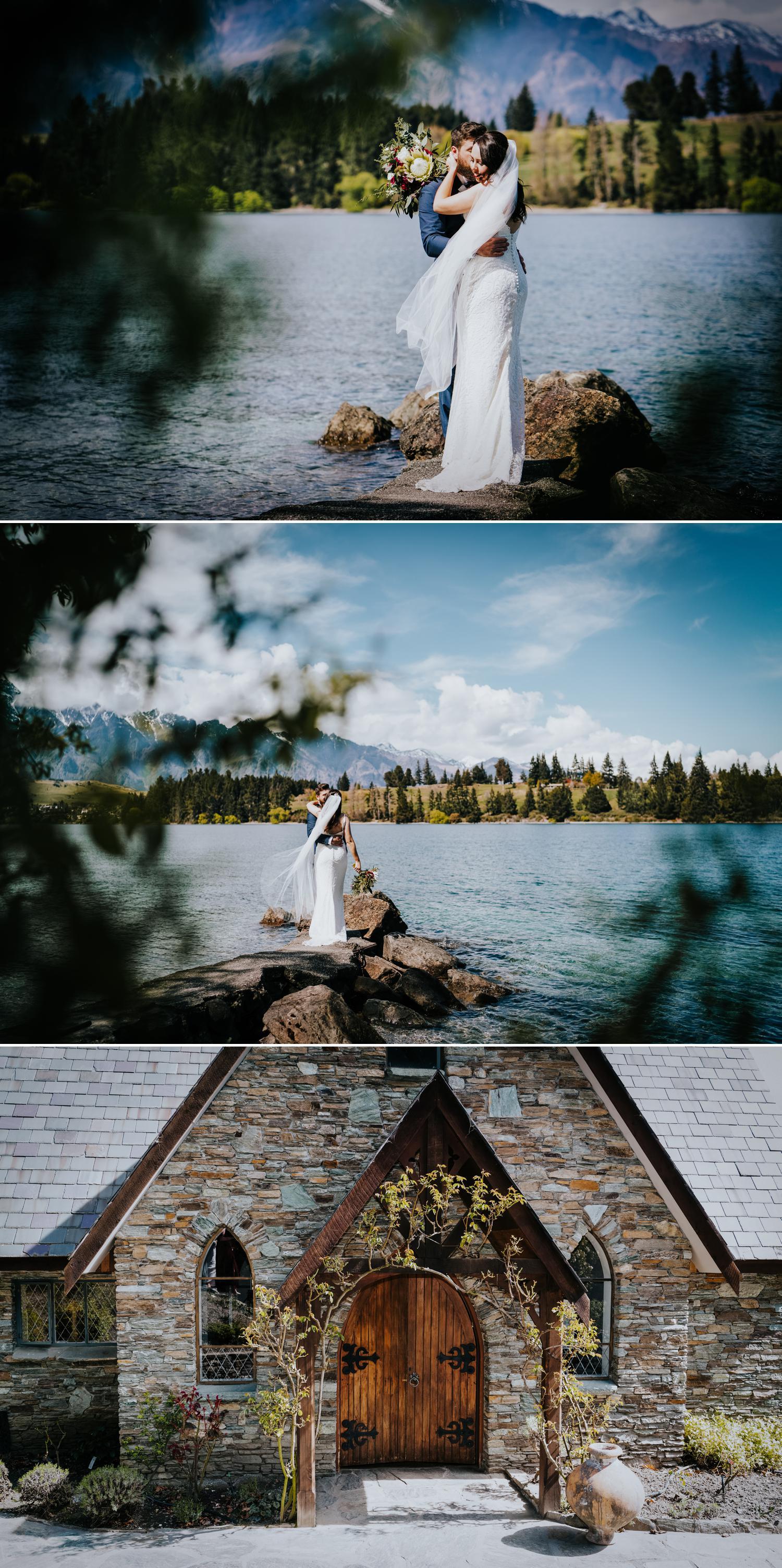 Lakeside wedding photos queenstown