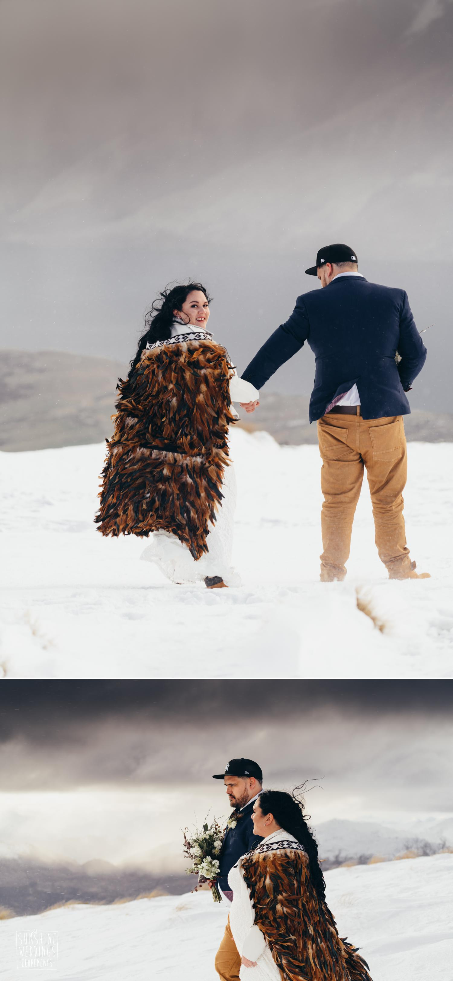 Winter elopement wedding Queenstown
