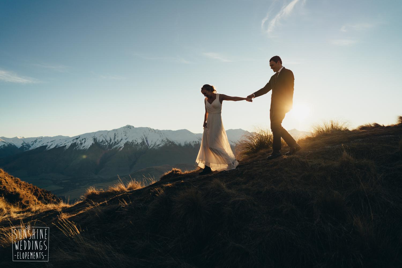 sunset mountain wedding nz