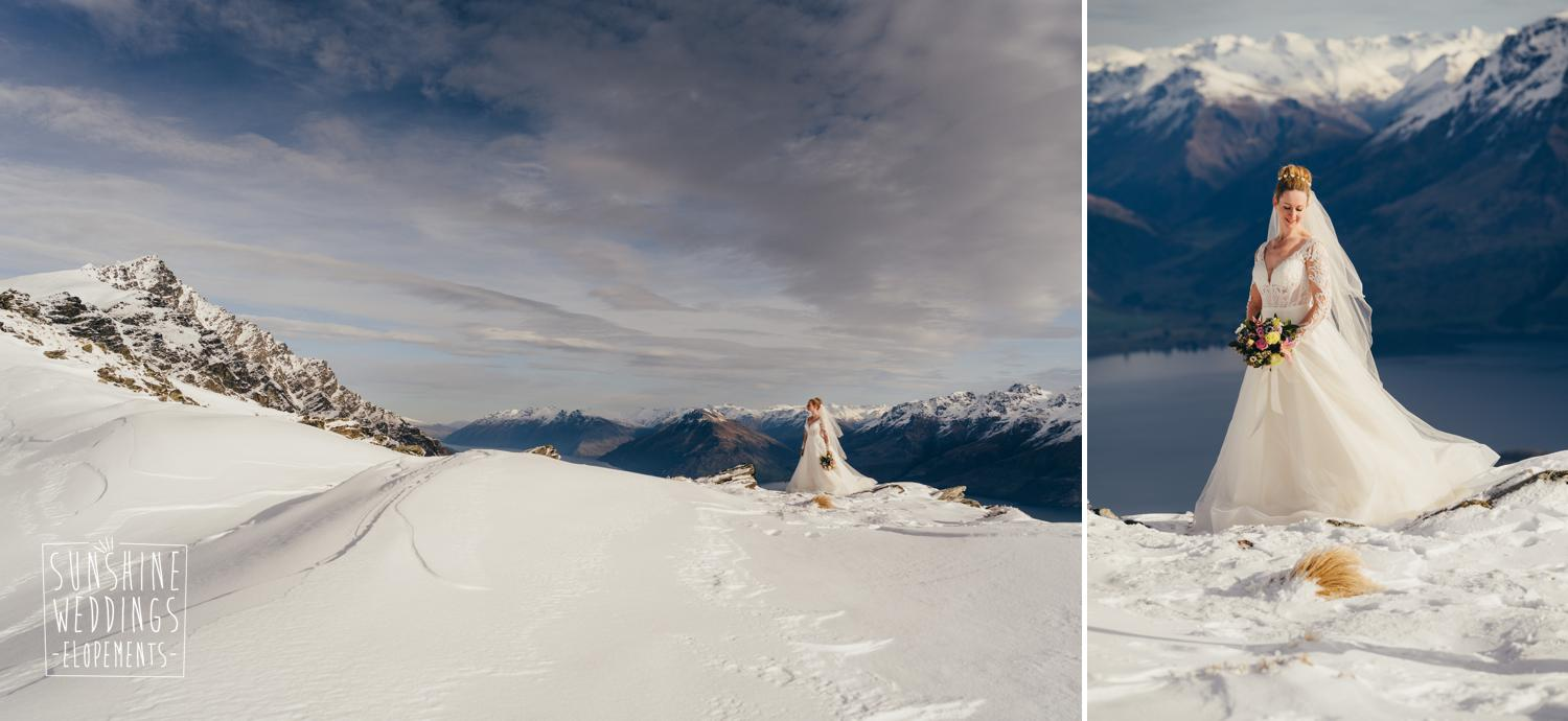 Winter mountain wedding Queenstown