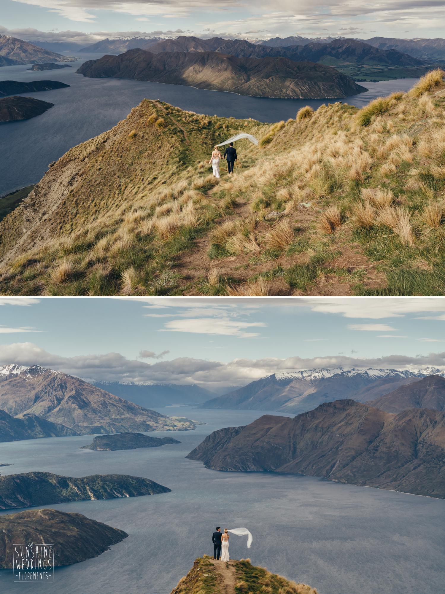 Spectacular NZ scenery, mountain wedding
