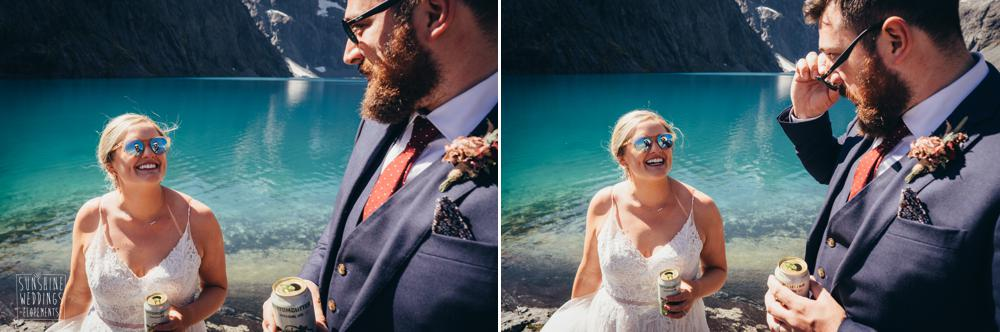 drinking beer elopement wedding in the mountains