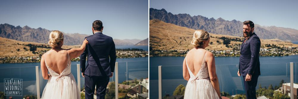 first look between bride and groom in Queenstown
