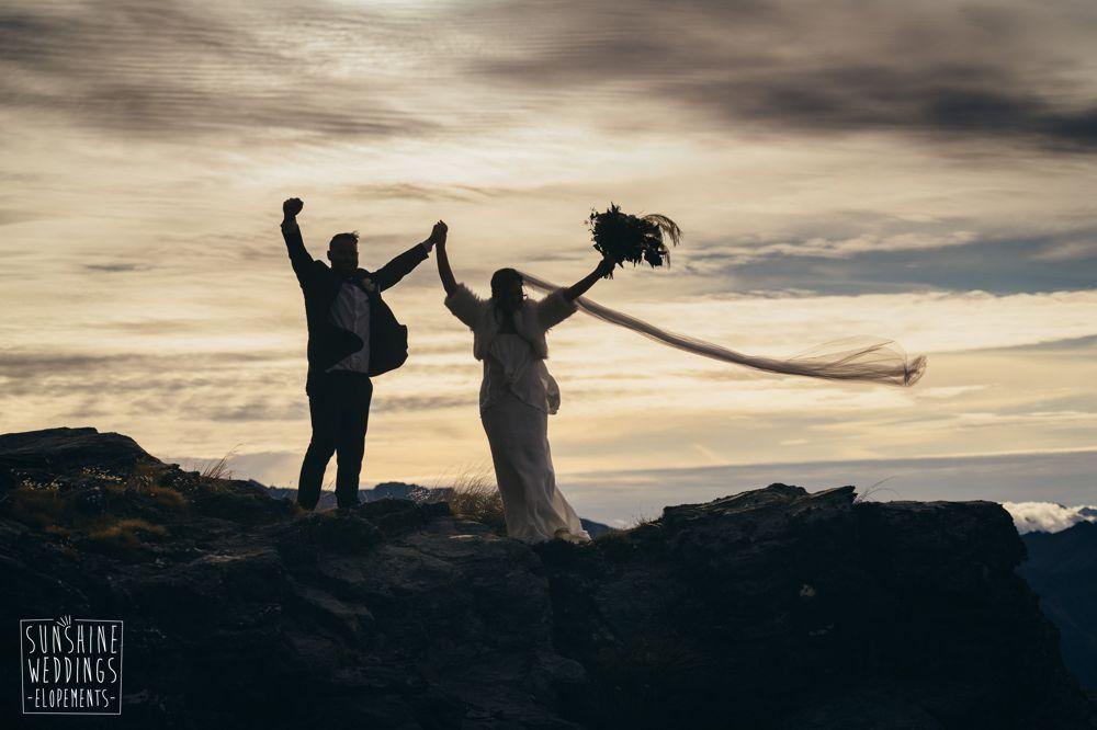 Sunset wedding Queenstown mountain elope