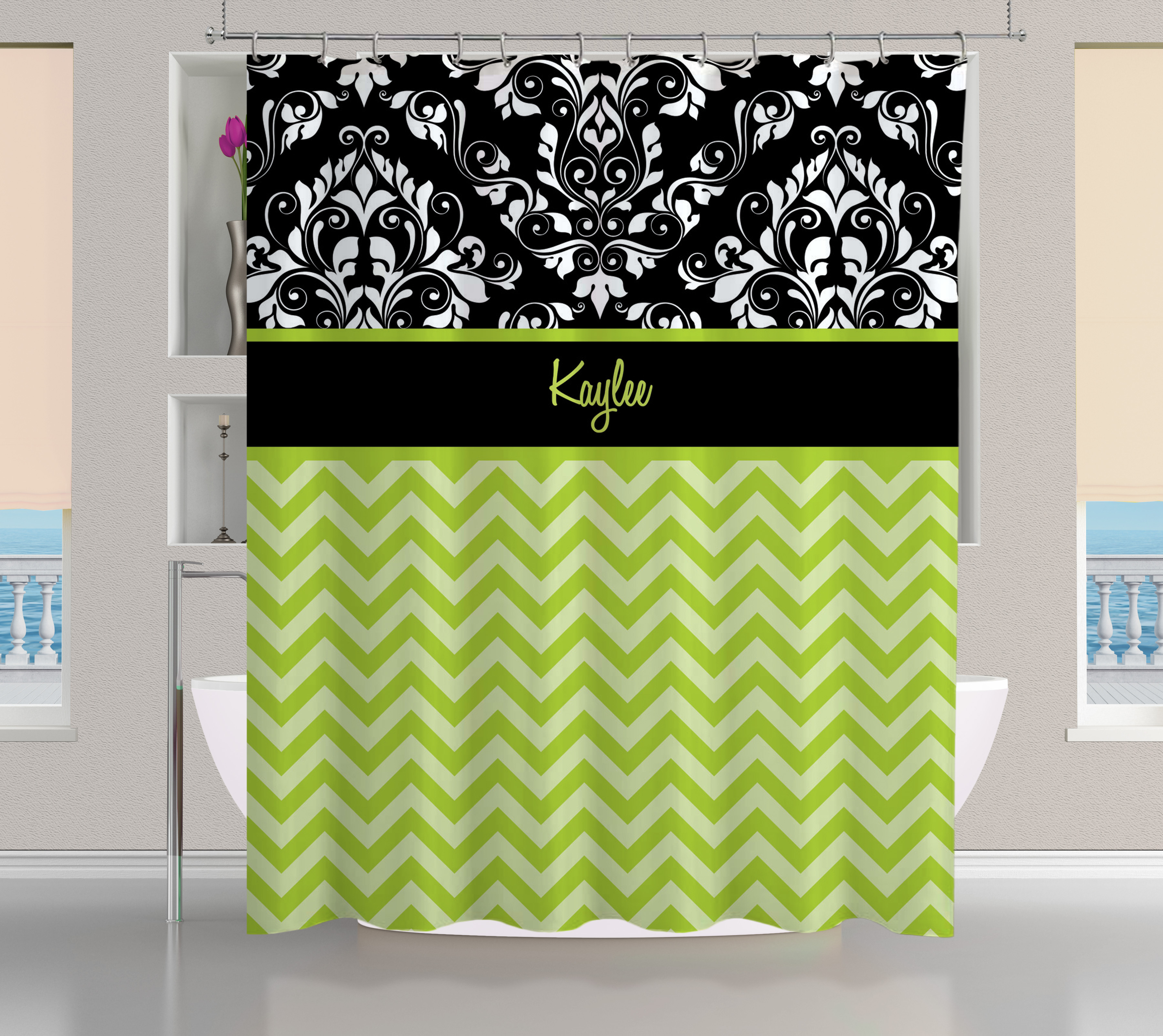 personalized black and green shower curtain white and black damask shower curtain 1 eloquent innovations