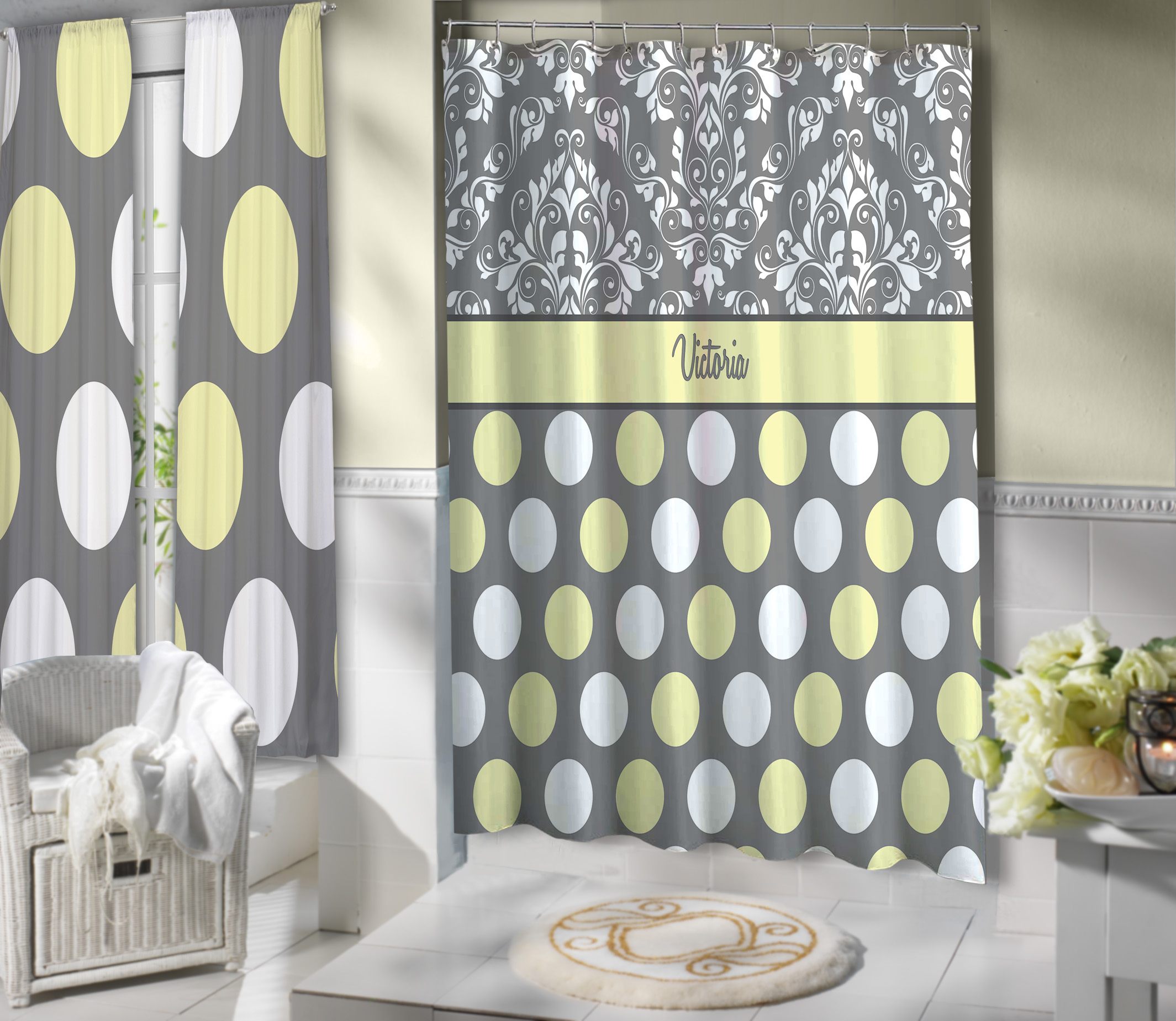 yellow gray and white shower curtain polyester cloth shower curtain damask pattern 3 eloquent innovations
