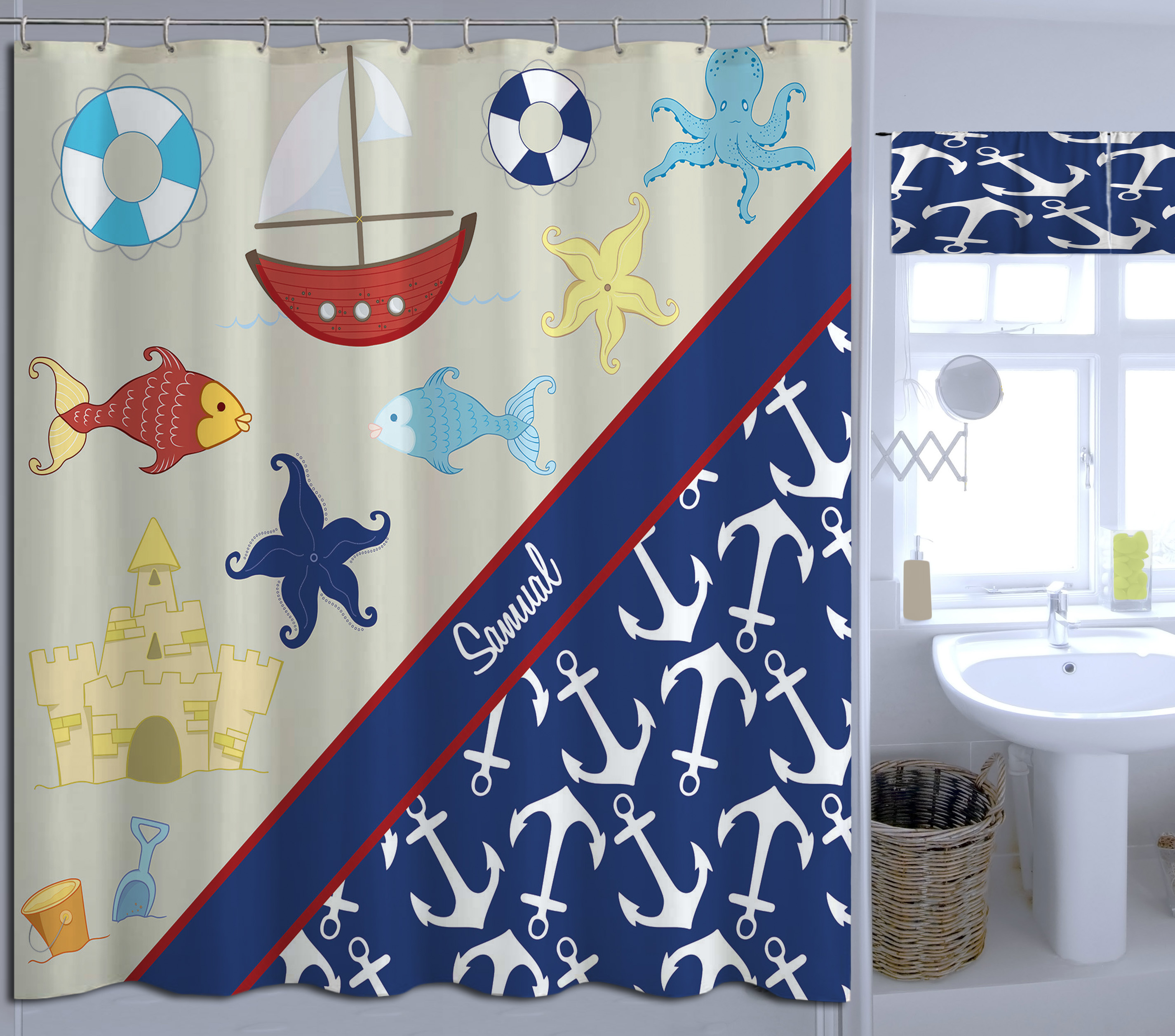 child s anchor and beach themed shower curtain nautical blue red and white shower curtain 21 eloquent innovations