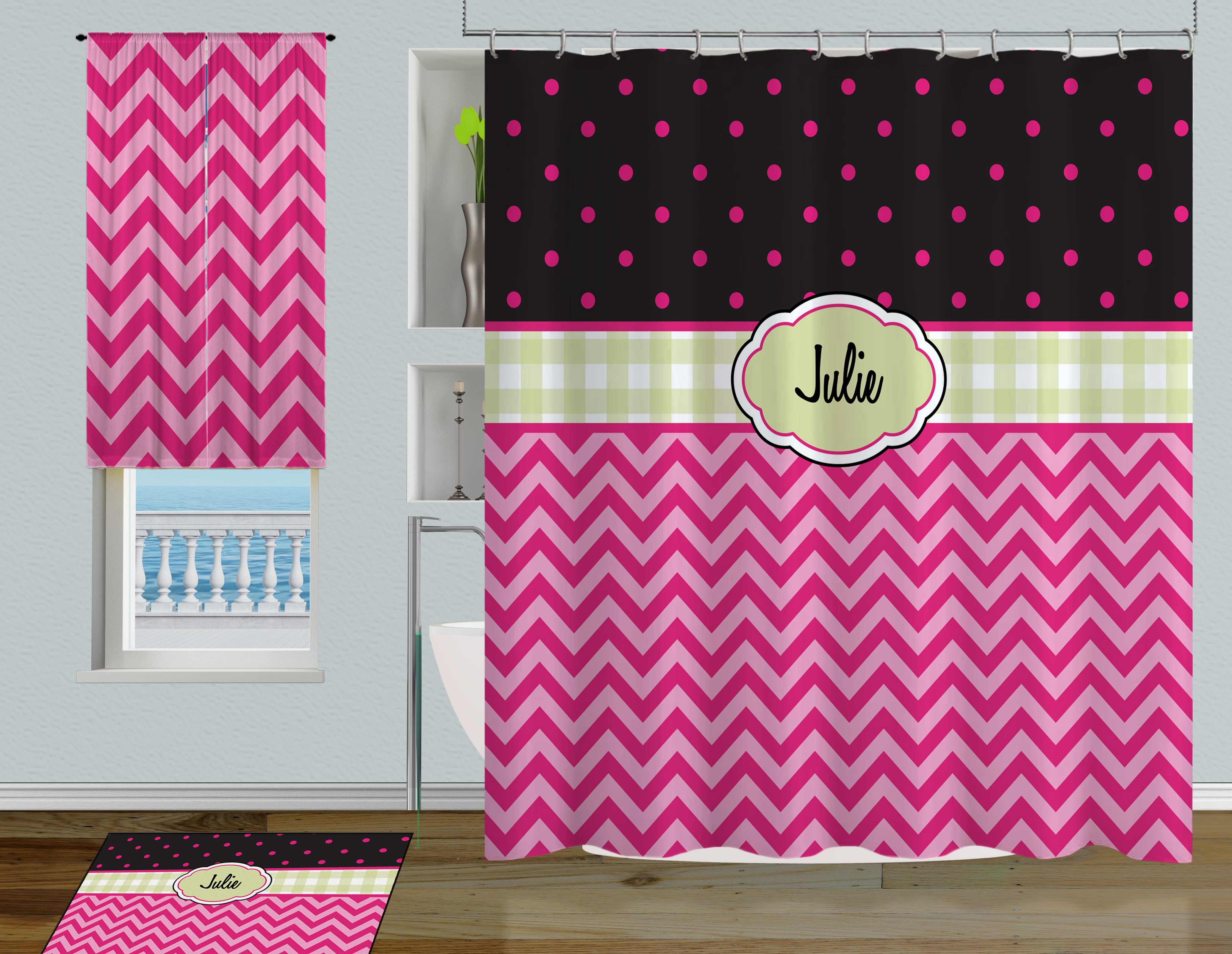 pink and green polka dot children s shower curtain with chevron printed pattern 73 eloquent innovations