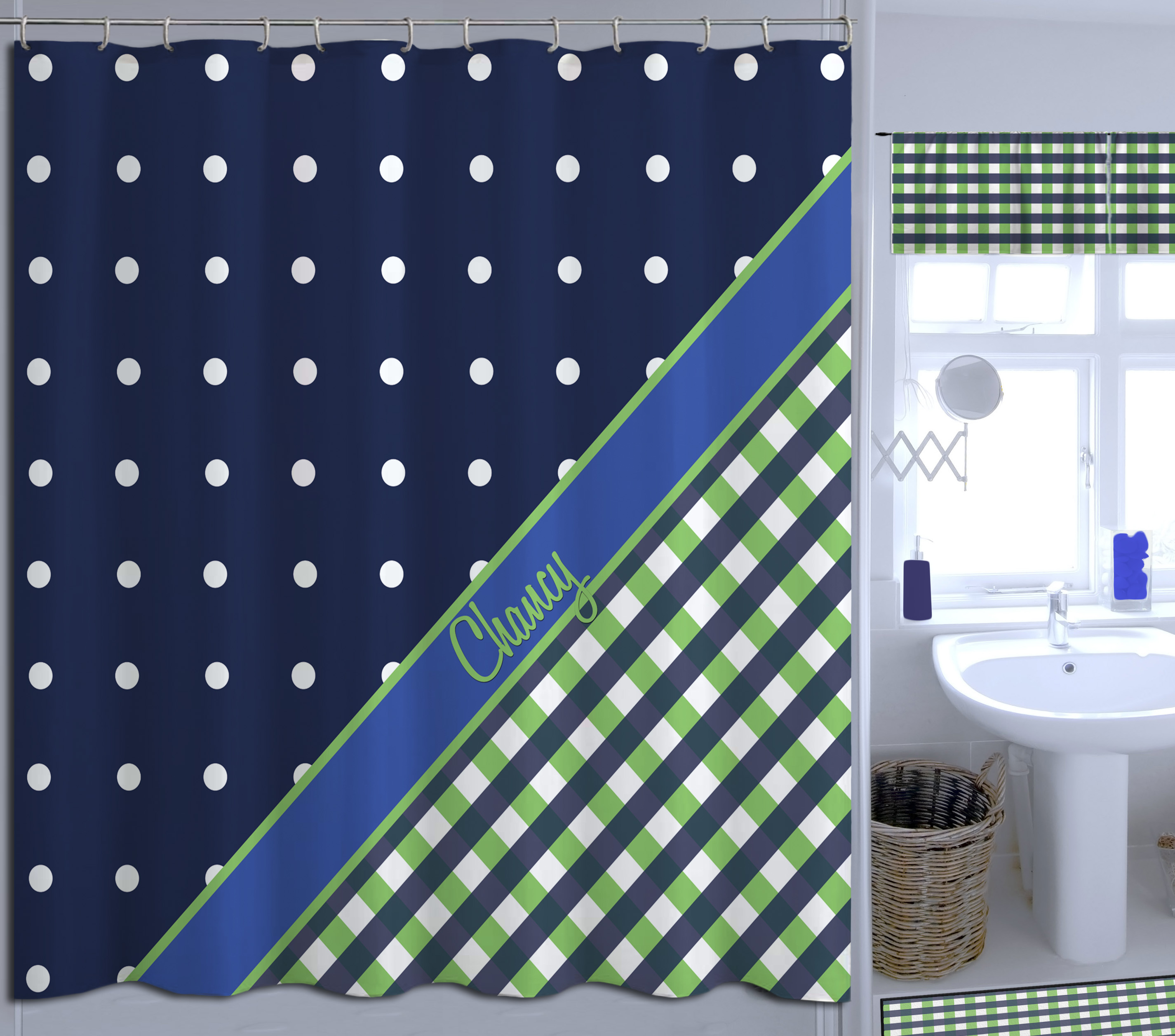 navy blue and green plaid and polka dots shower curtain great for boys 42 eloquent innovations