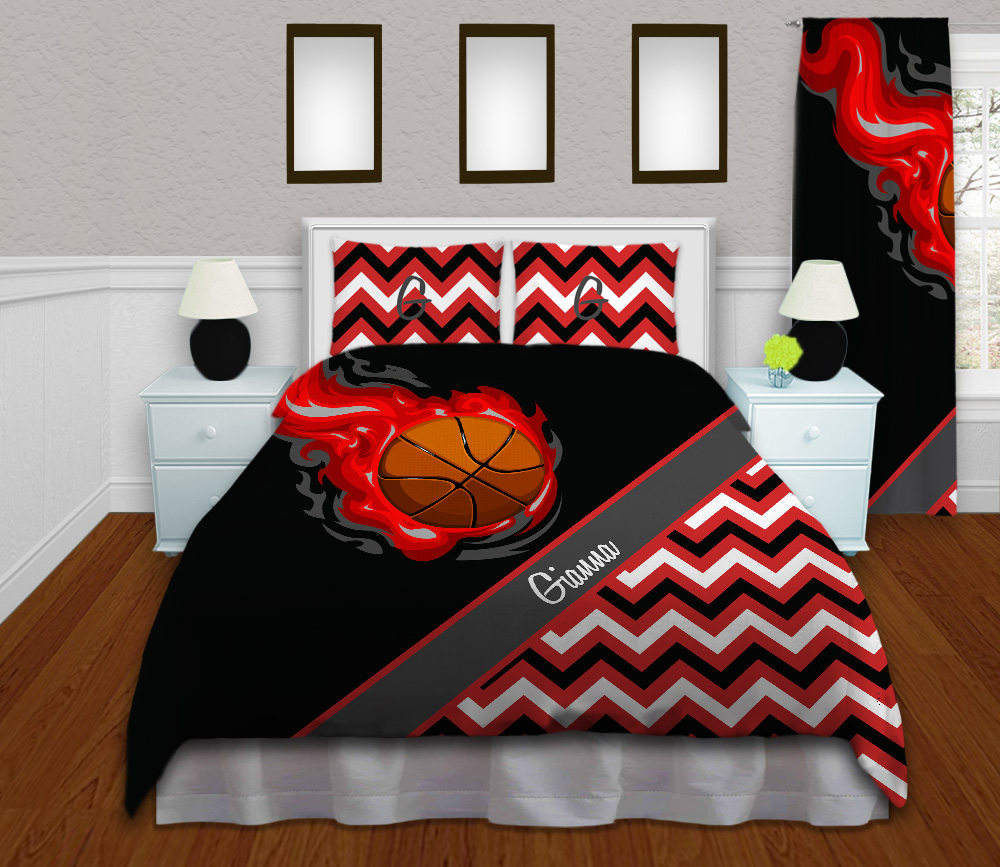 Girls Chevron Basketball Bedding With Red Flames 155